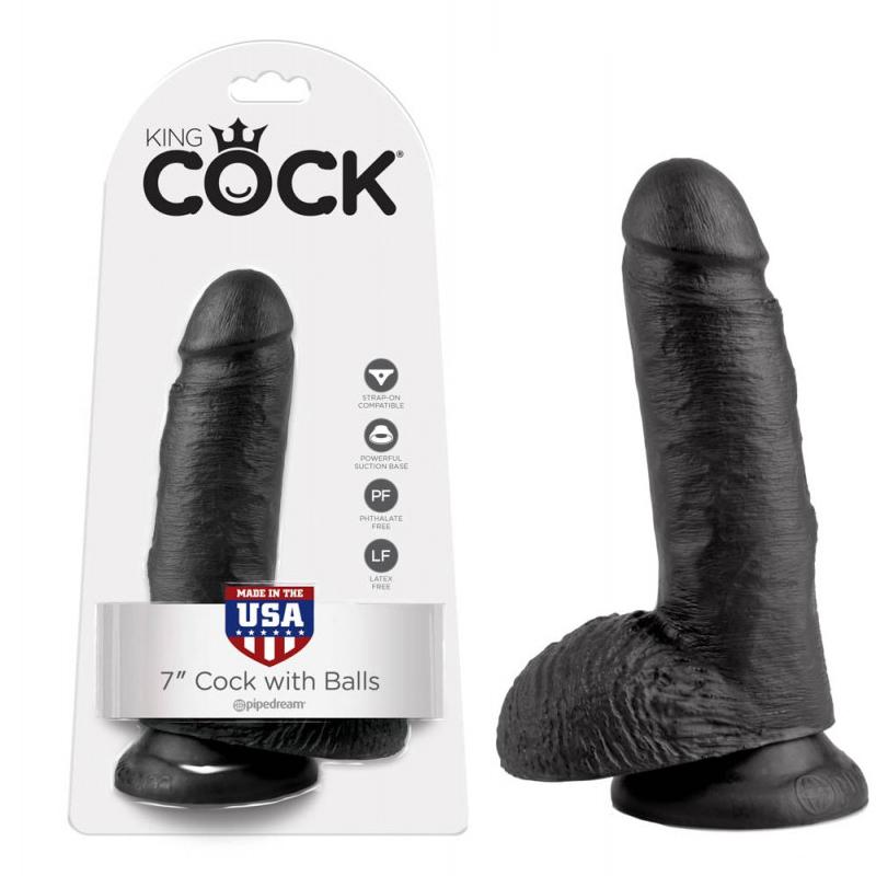 Топ дилдо с тестиси в черен цвят, 19,4см. – King Cock