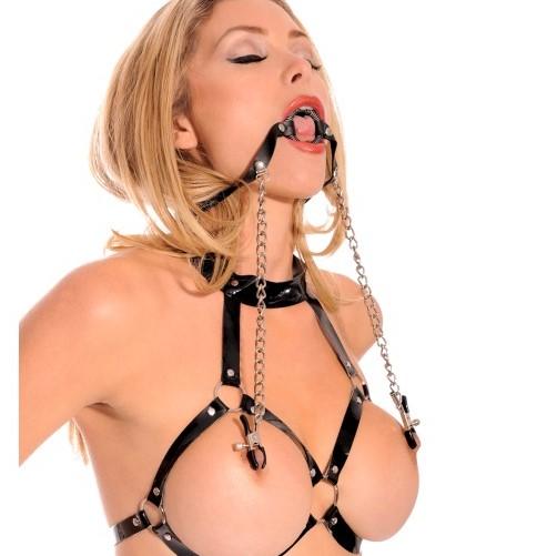Пръстен за уста и щипки за зърна, фетиш фантазия – O-Ring Gag with Nipple Clamps