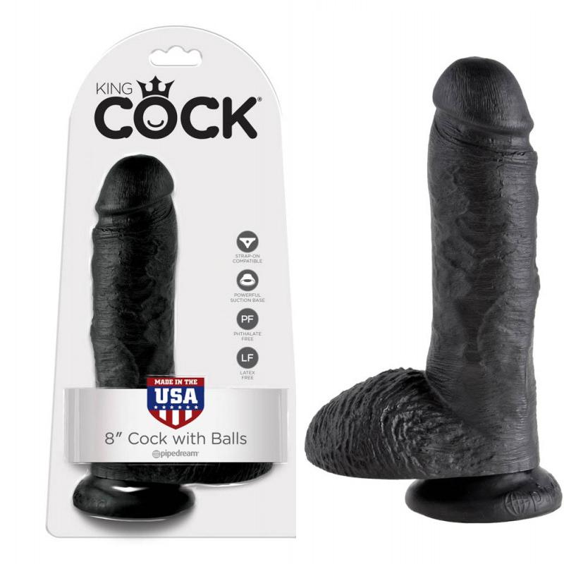 Топ дилдо с тестиси в черен цвят, 20,3см. – King Cock