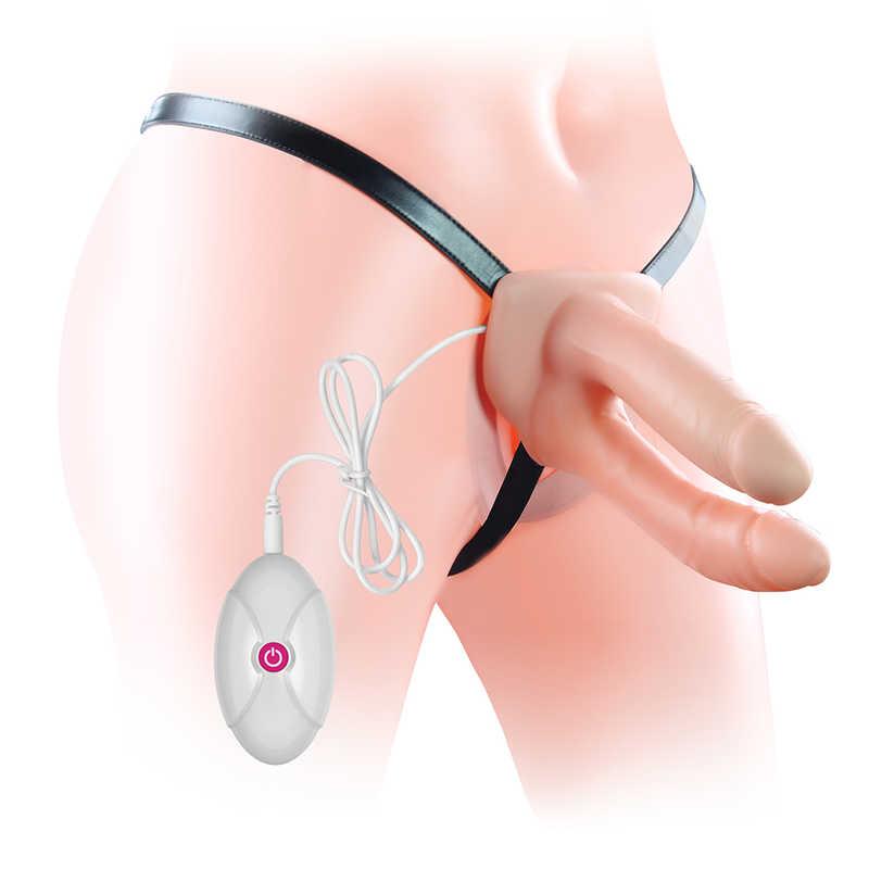Унисекс пенис колан за двойно проникване с вибрации - Vibrating Unisex Hollow Strap On — 5