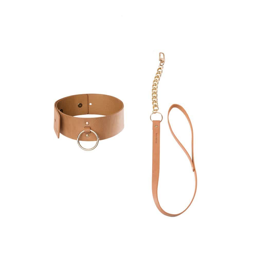 Чокър с каишка в кафяв цвят - MAZE - Wide choker with leash brown — 2
