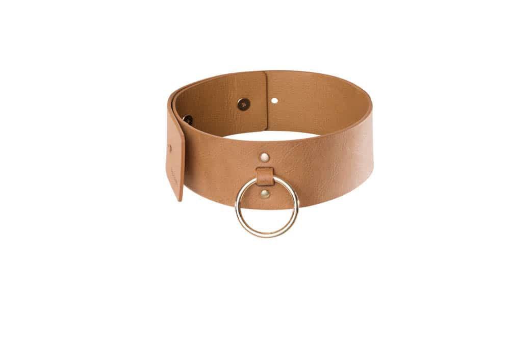 Чокър с каишка в кафяв цвят - MAZE - Wide choker with leash brown — 4