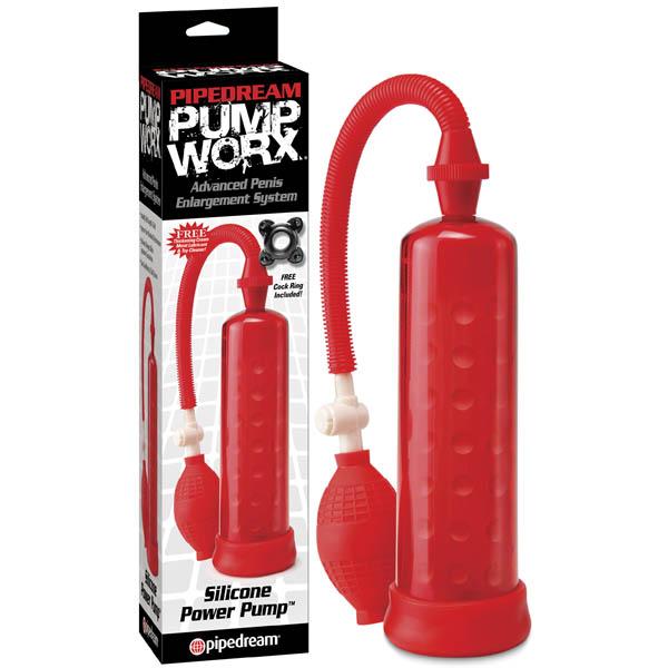 Пенис помпа със силиконова вътрешност в червен цвят – Pump Worx