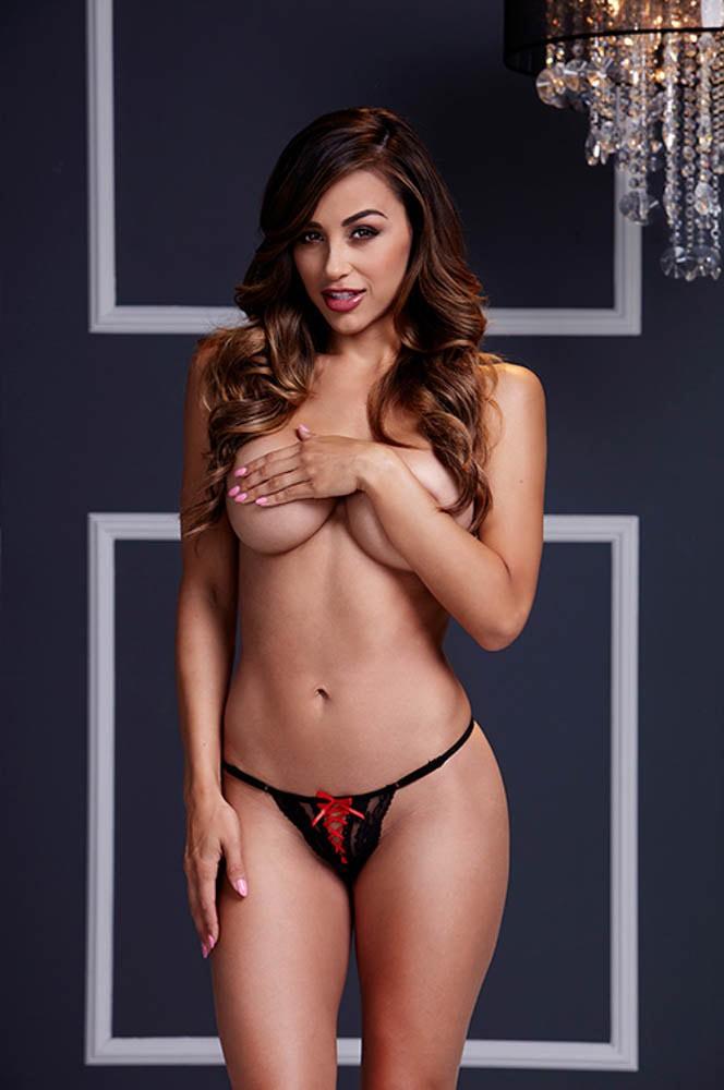 черно-червени прашки - Black Lace Up Panty Red Ribbon S — 2
