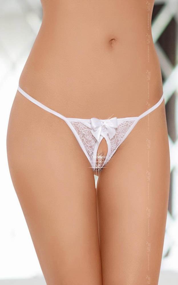 Секси прашки в бял цвят с интимен отвор - G-string 2427 S/L