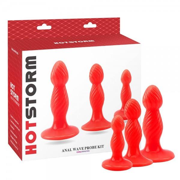 Комплект от 3 броя за анален секс, гореща буря – Anal Wave Probe Kit, Hot Storm