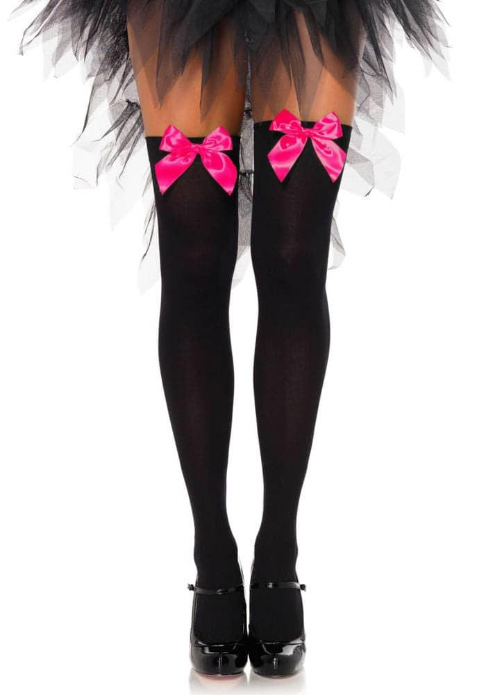 Високи чорапи с панделка, черно-цикламено – Nylon Over The Knee With Bow