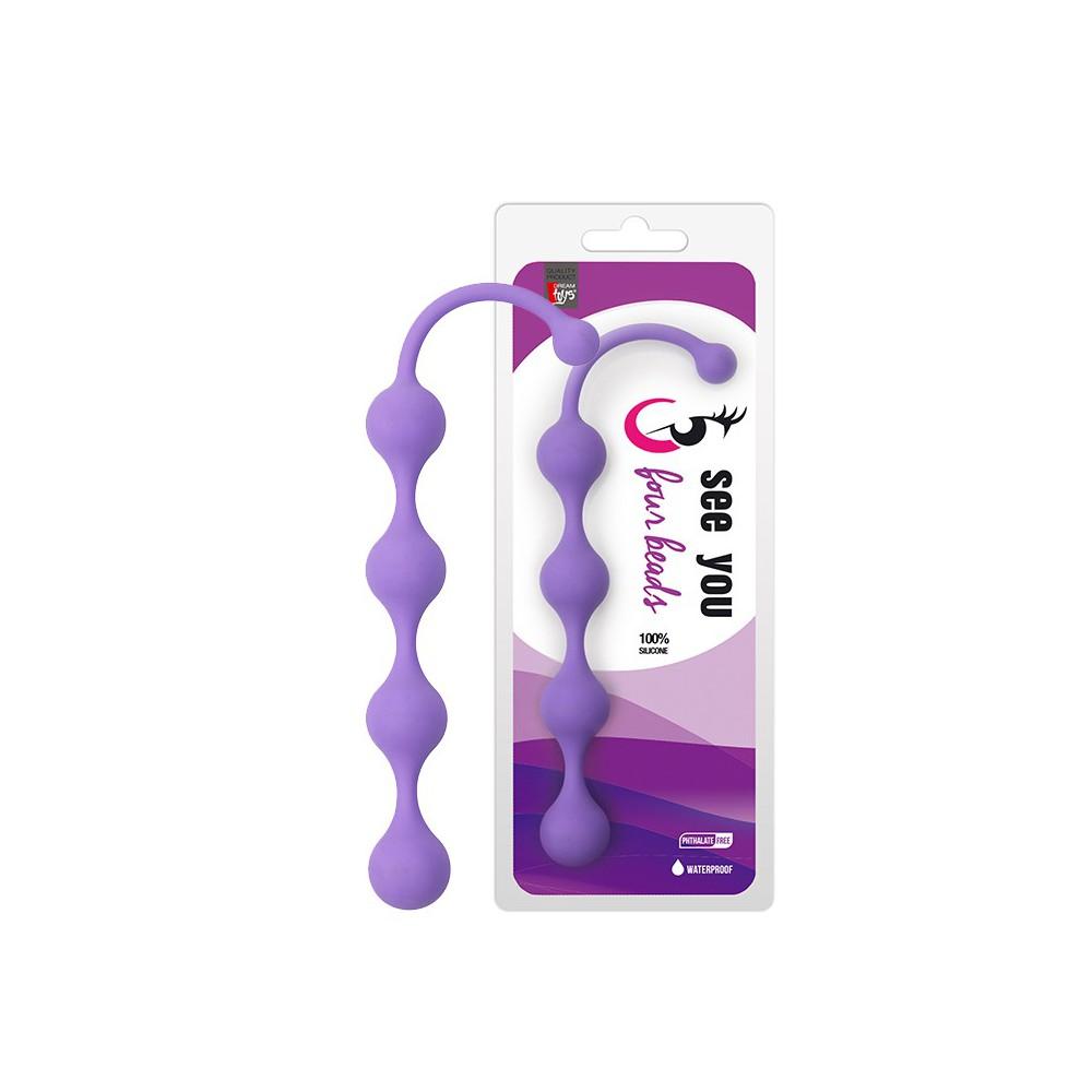 Анална броеница от 4 топчета в лилав цвят 24см. – See You Five Beads Anal Purple