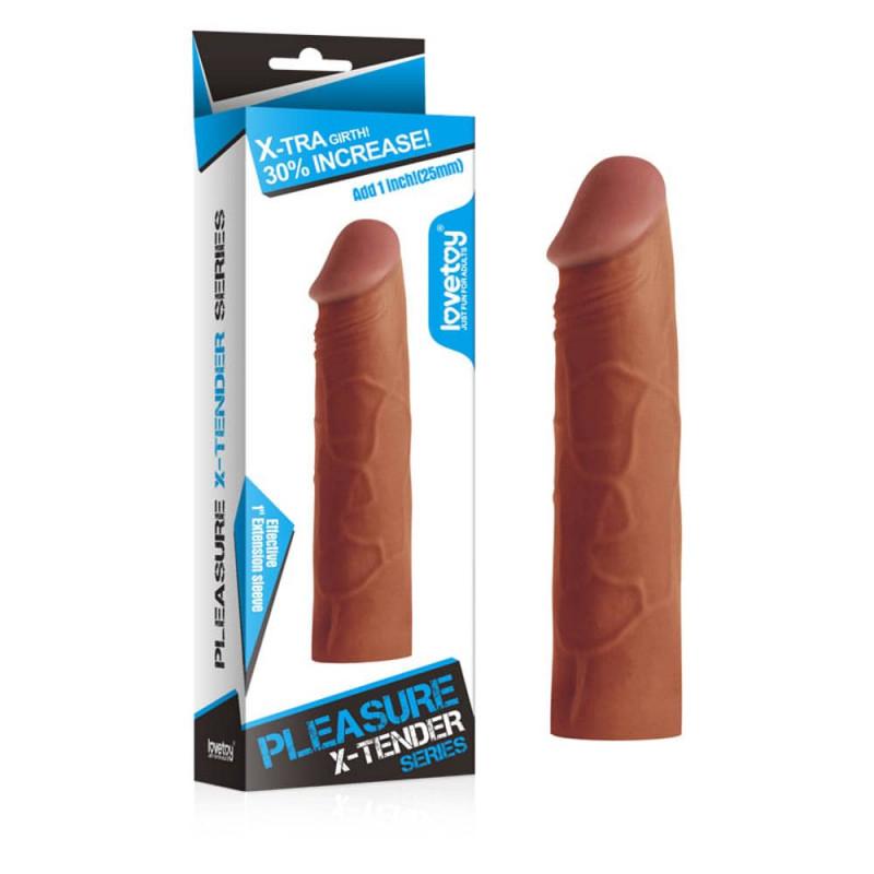 бежов цвят 17см. - Pleasure X-Tender Penis Sleeve 1 — 4