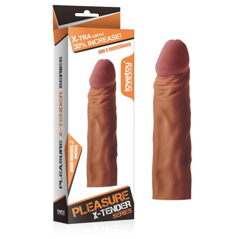 Пенис удължител за допълнително удоволствие в кафяв цвят – Pleasure X-Tender Penis Sleeve