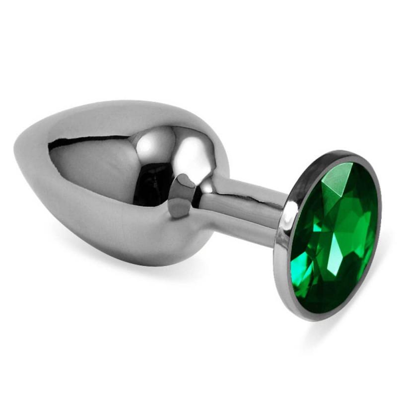 Анален метален плъг със зелени кристали, малък размер – Rosebud Classic Metal Plug Small