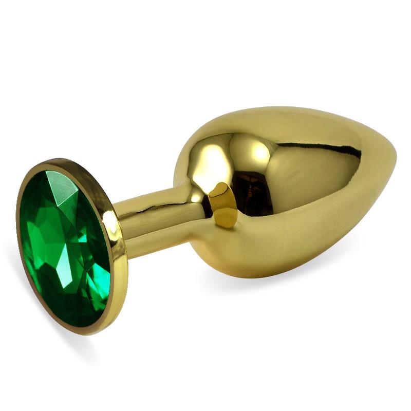 Златен анален метален плъг със зелени кристали, малък размер – Rosebud Classic Metal Plug Small