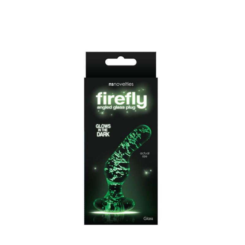Извит анален плъг, светещ в тъмното – Firefly, Glass Angled Plug Clear,