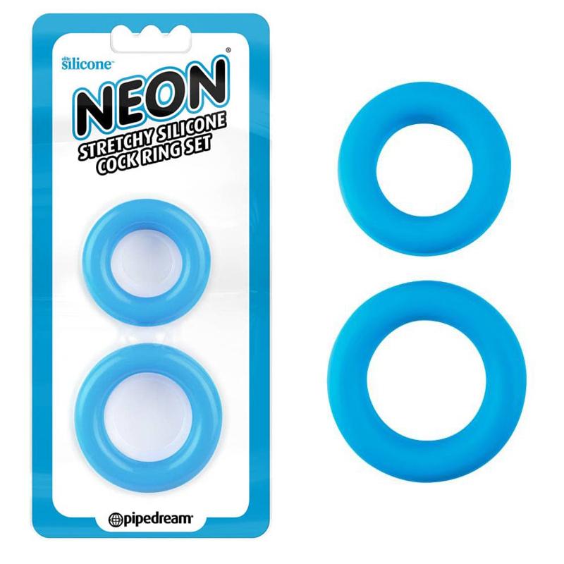 Неонови пенис пръстени, много разтегливи – Neon Stretchy Blue