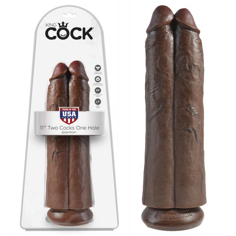 Дилдо 2 в 1, кафяв цвят, 30см. – Two Cocks One Hole