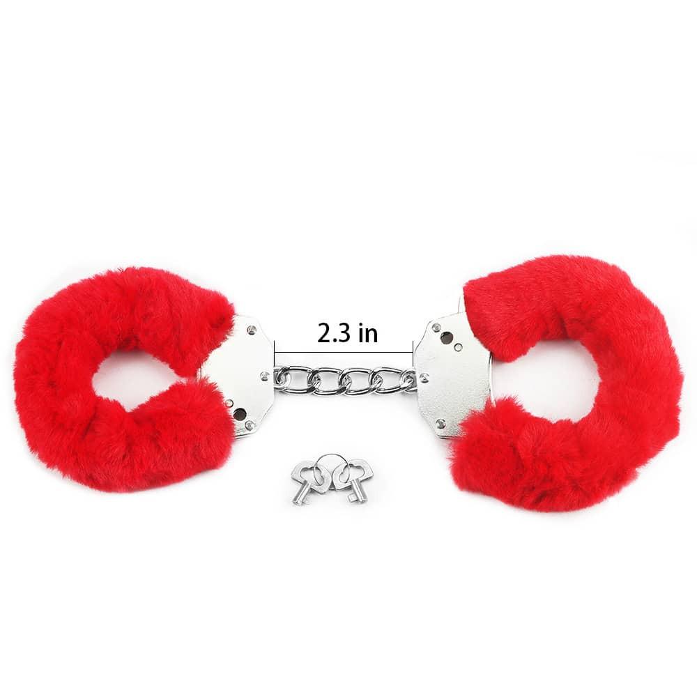 Белезници с червен плюш - Fetish Pleasure Fluffy Hand Cuffs — 6