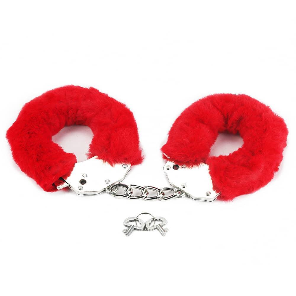 Белезници с червен плюш - Fetish Pleasure Fluffy Hand Cuffs — 5