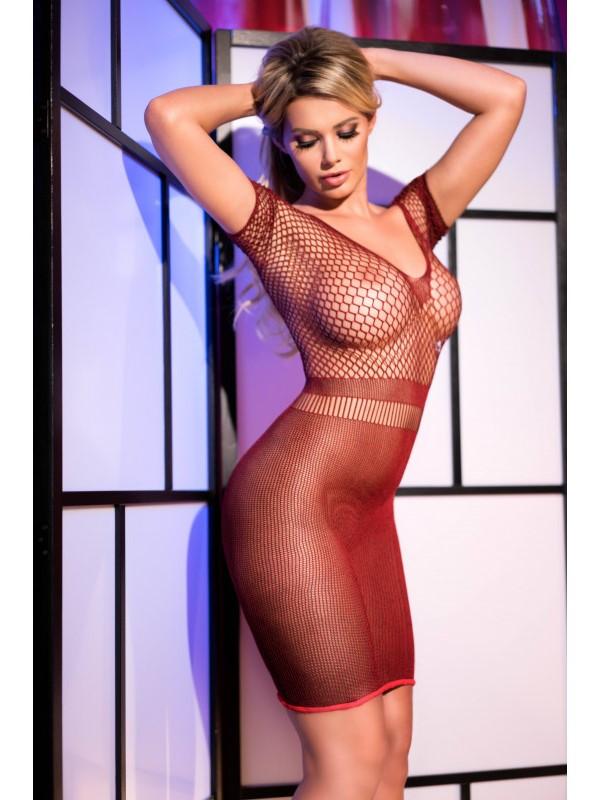 Мрежеста мини рокля, сладко изкушение в червен цвят – CR 4108  S-L  Red Superstretch Seamless Minidress
