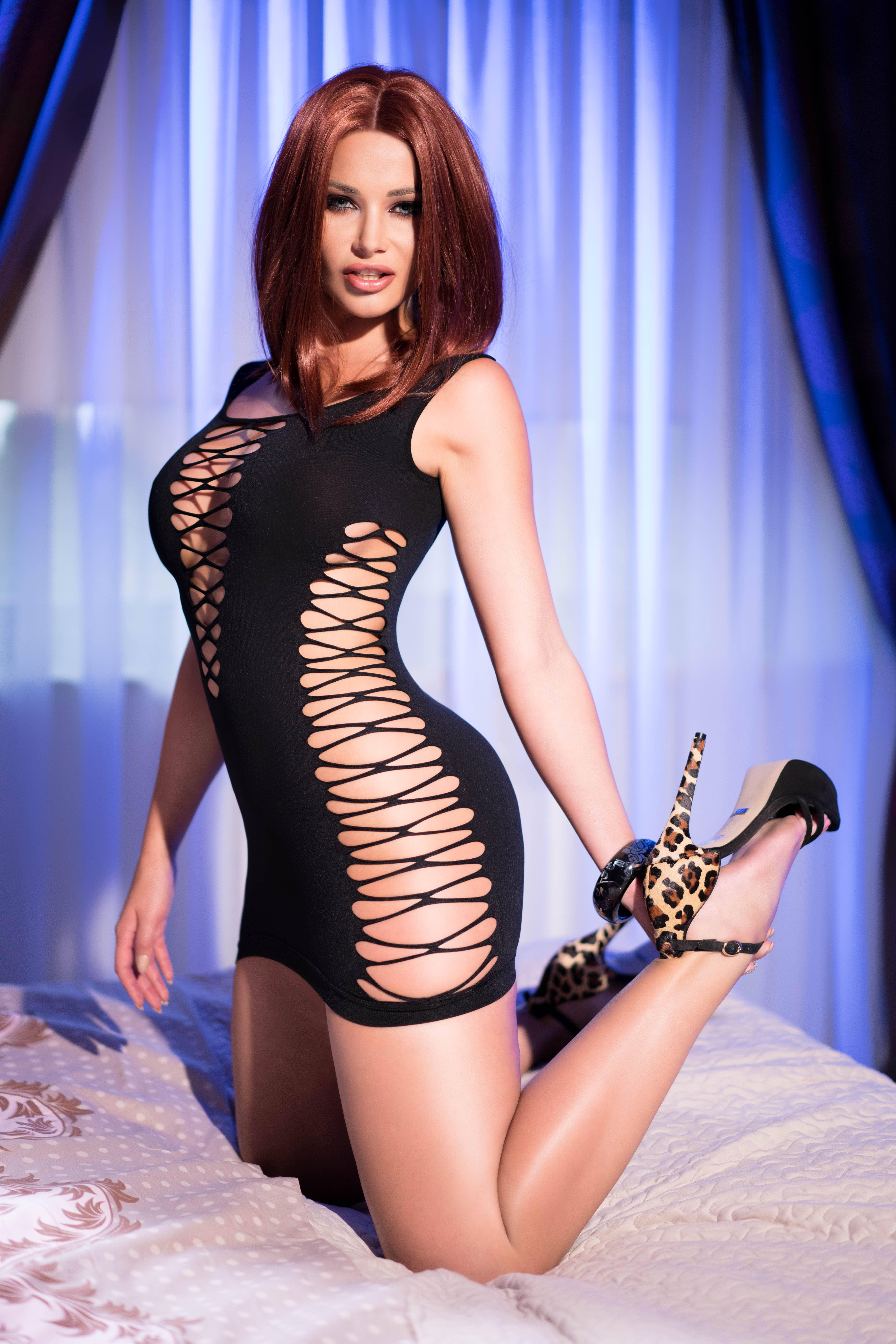 Еластична мини рокля, черна – CR 4096 S/M Black Seamless Minidress