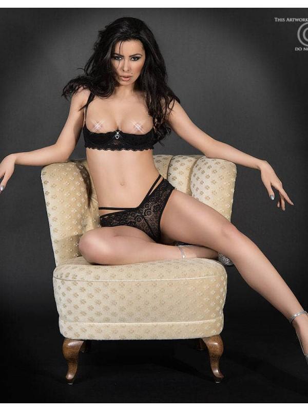 Чувствен дантелен комплект в черен цвят, размер L – CR 3784 L Black Lace Set Open Bra + Panties
