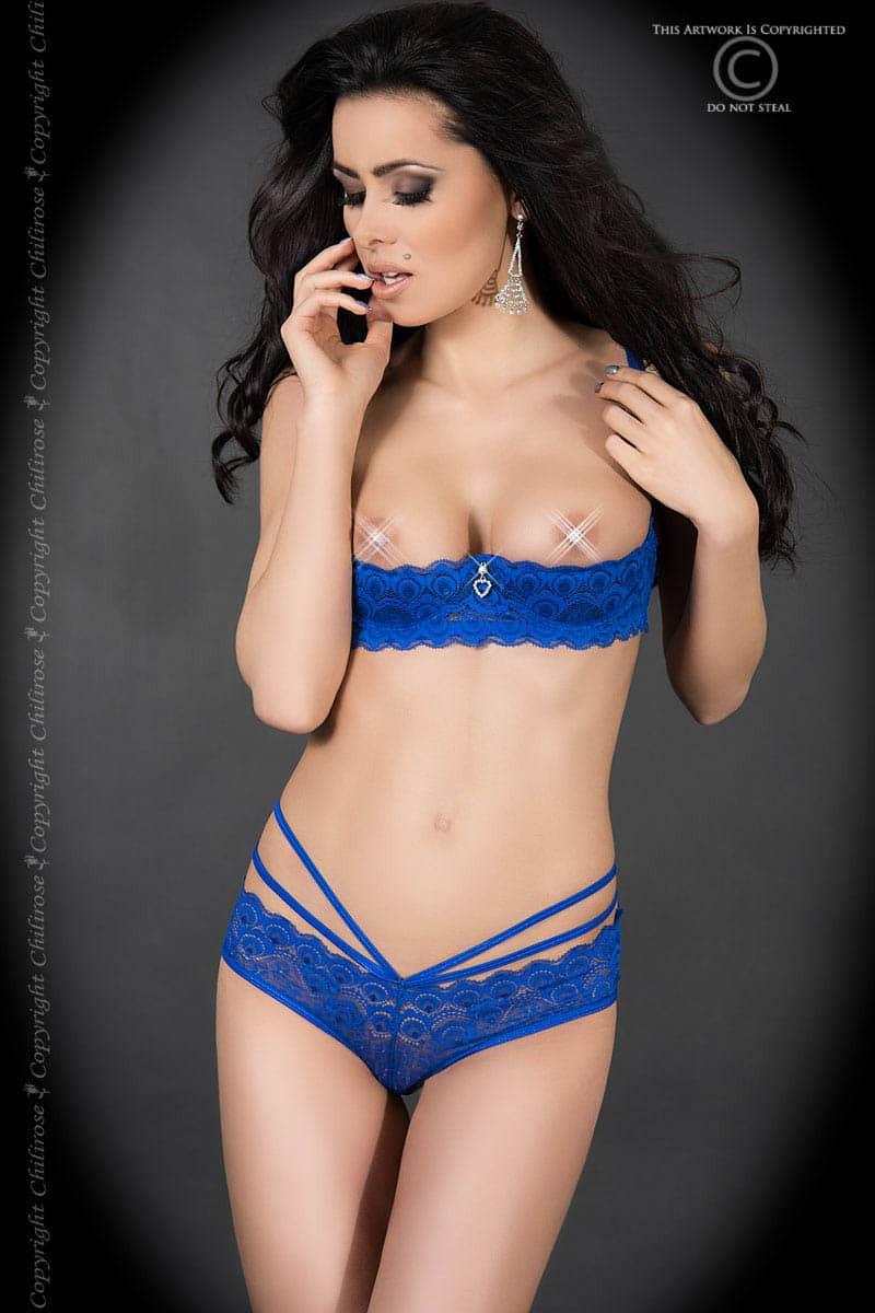 размер M - CR 3784 M Blue Lace Set Open Bra + Panties — 2