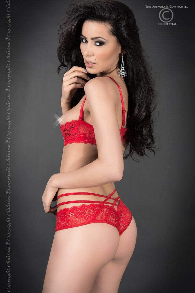 размер M - CR 3784 M Red Lace Set Open Bra + Panties — 2