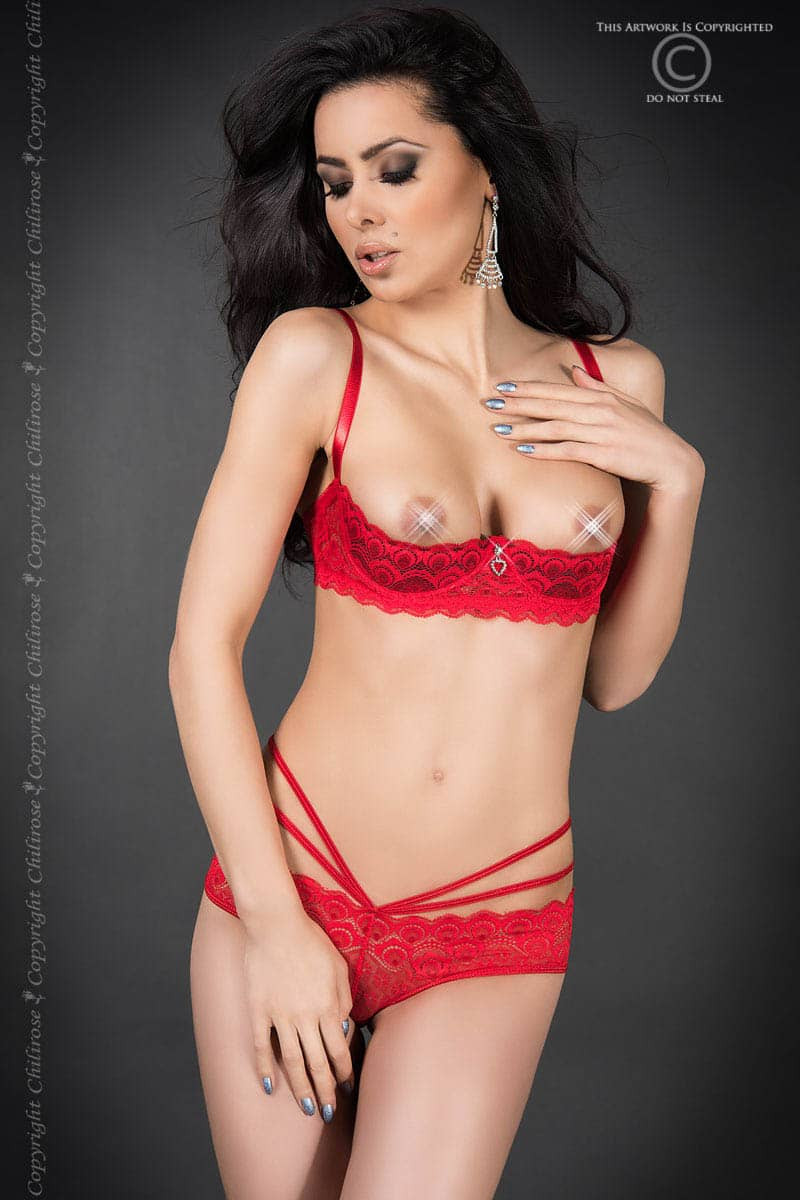 размер L - CR 3784 L Red Lace Set Open Bra + Panties — 2