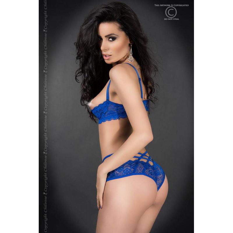 размер L - CR 3784 L Blue Lace Set Open Bra + Panties — 4