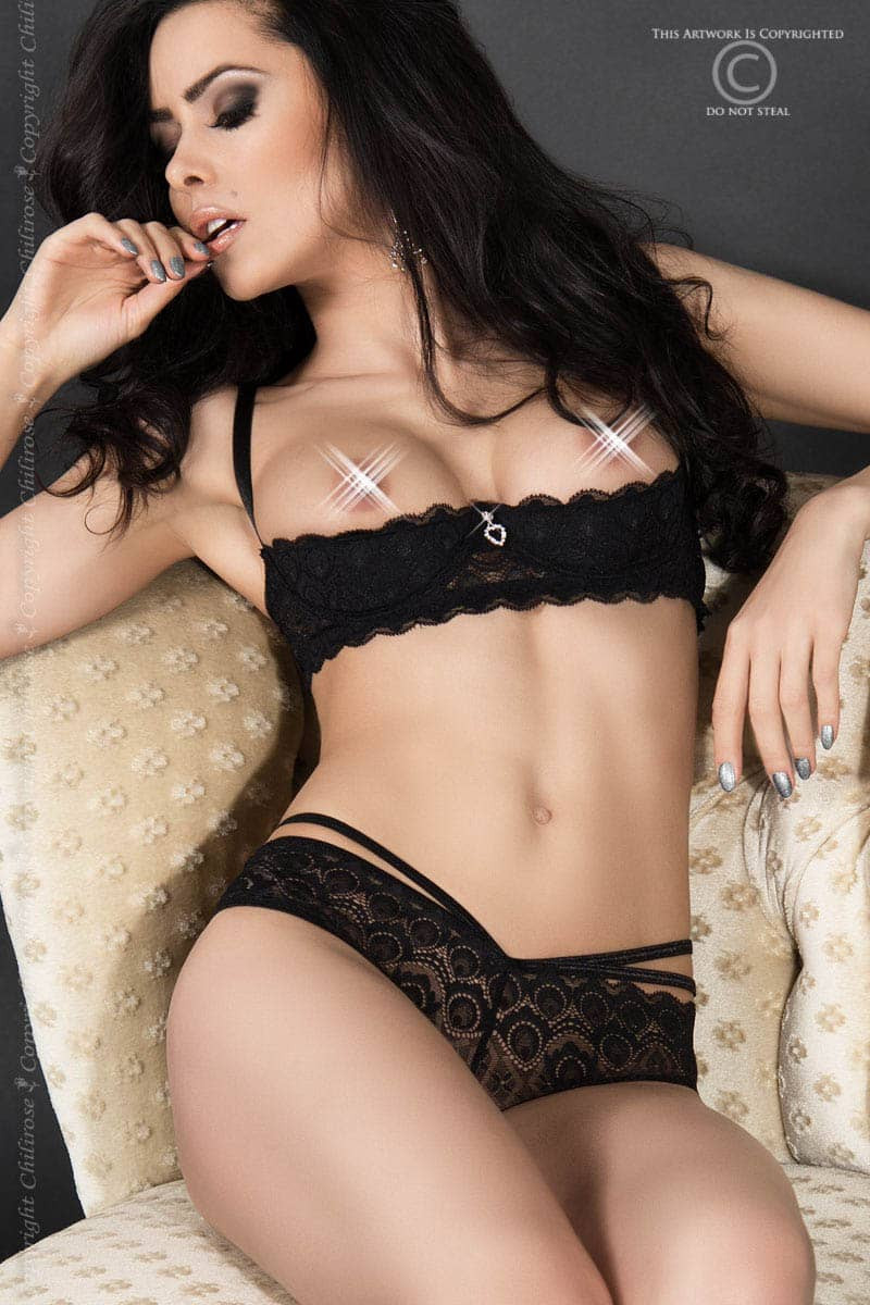 размер M - CR 3784 M Black Lace Set Open Bra + Panties — 2