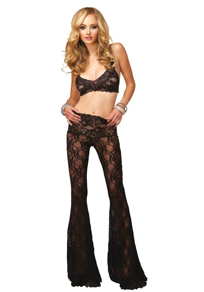 2Pc. Sexy Retro Floral Lace Bra Top And Flared Lounge Pants