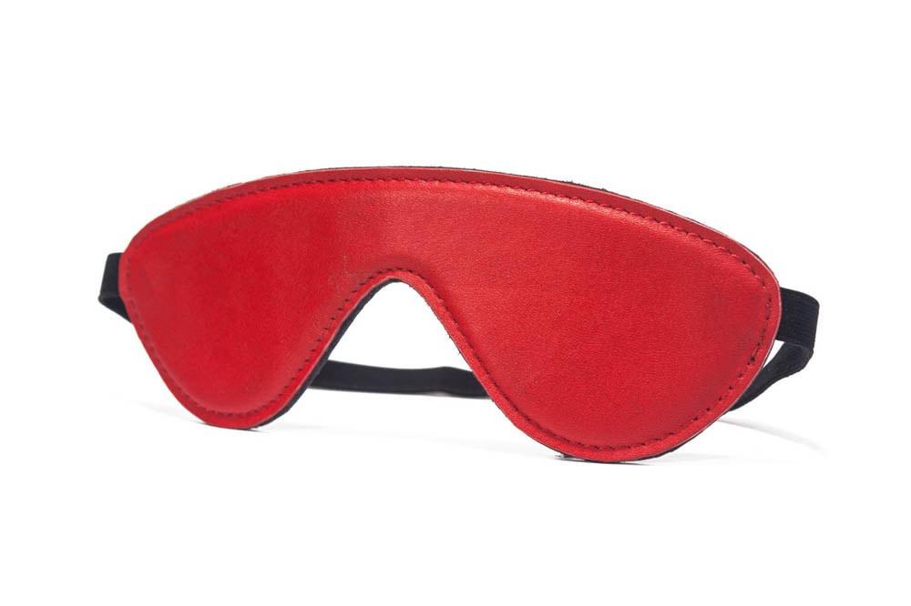 Висококачествена маска за очи от естествена кожа в червен цвят – Devil Sticks, Blindfold