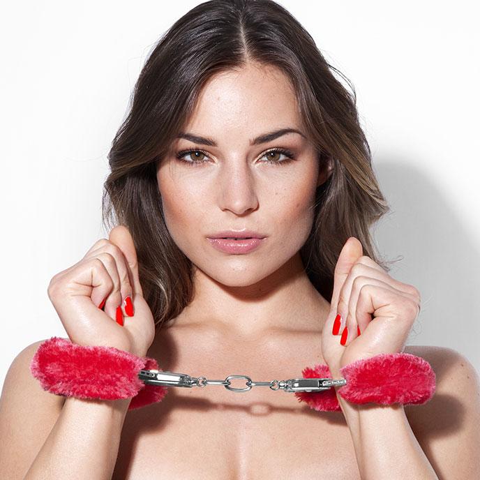 Метални белезници с плюш в червен цвят - Metal Handcuff with Plush Red — 4