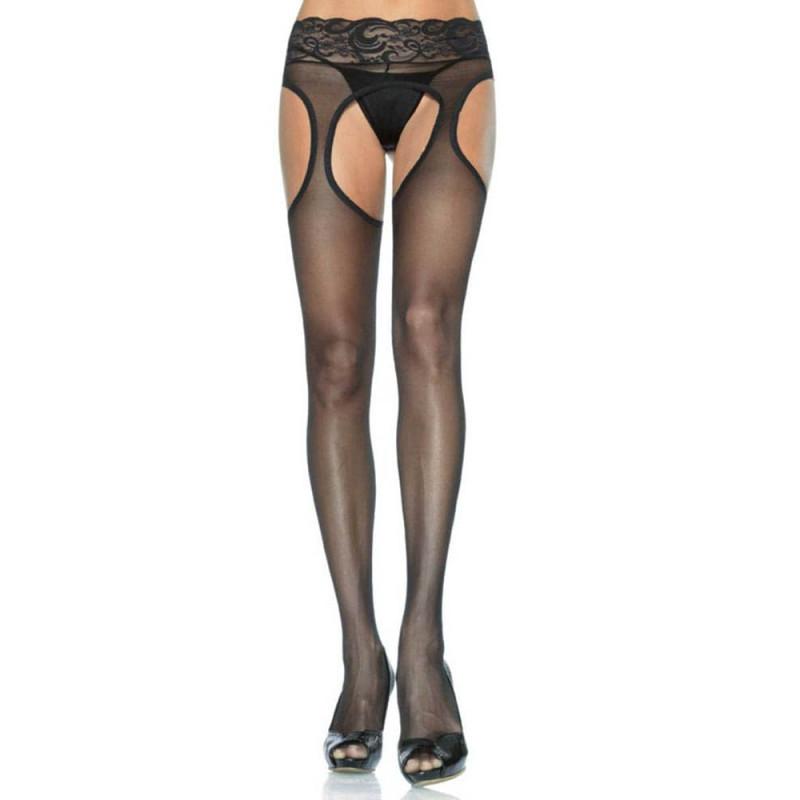 Чорапи с отворено дъно и секси дантела на талията – Lycra Sheer Garter Panty Hose One Size