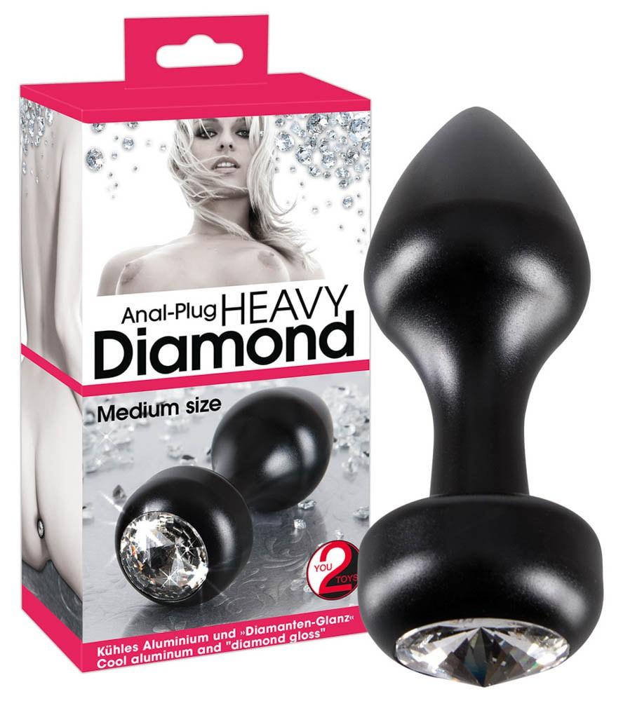 Метален плъг с кристали за анално удоволствие – Diamond Plug Medium