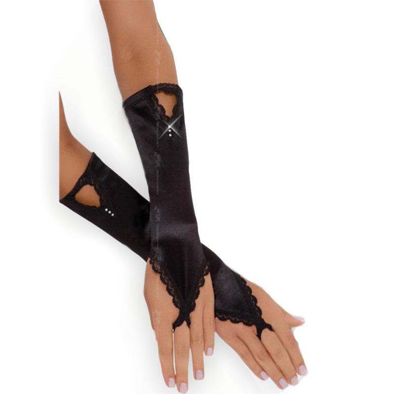 Черни ръкавици, нежен флирт – Gloves 7710