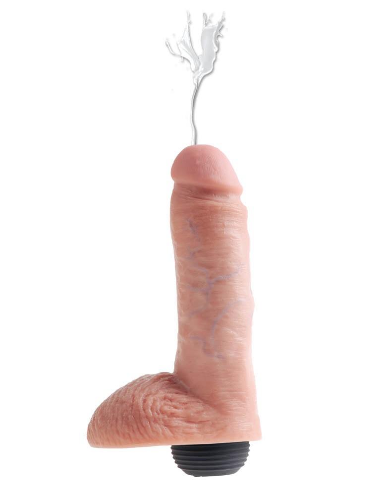Свършващо дилдо с тестиси - King Cock Squirt 20
