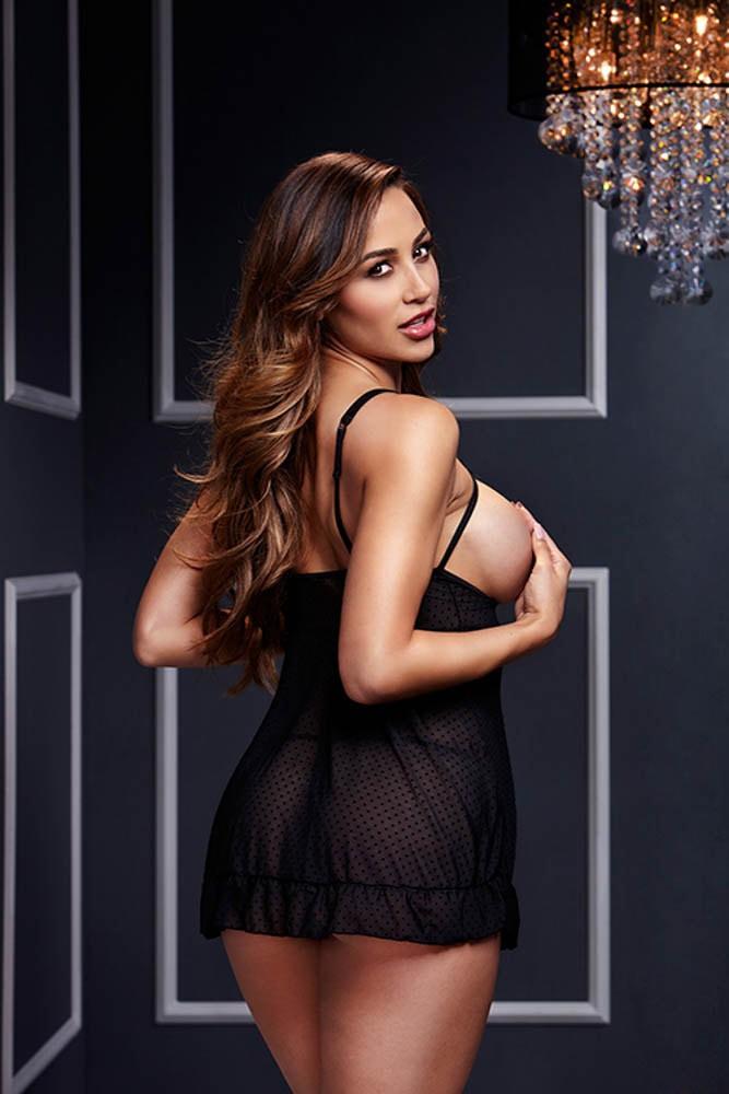 Секси нощничка с отворени чашки – Black Sheer Babydoll, Baci Lingerie O/S