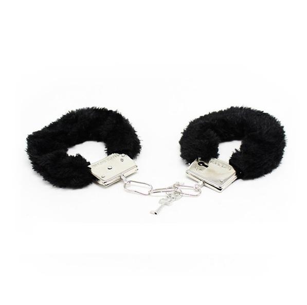 Метални белезници с плюш в черен цвят - Metal Handcuff with Plush Black — 6