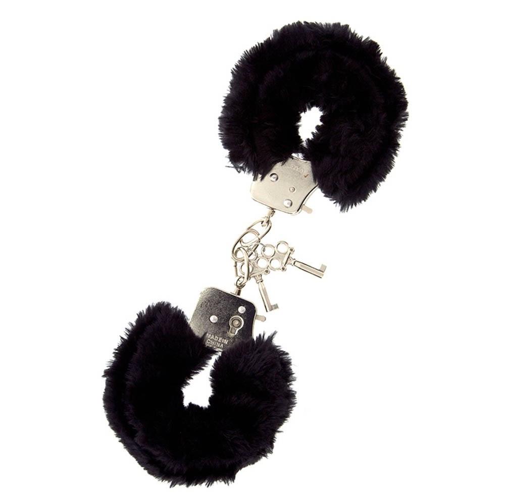Метални белезници с плюш в черен цвят – Metal Handcuff with Plush Black