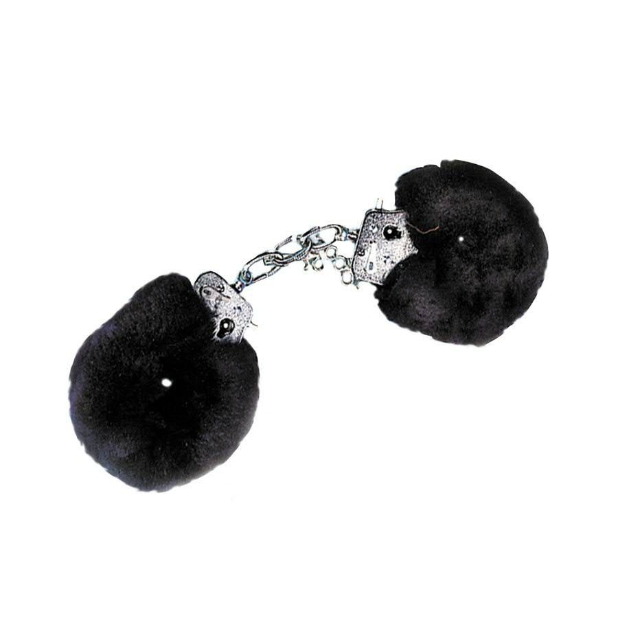 Метални белезници с плюш в черен цвят - Metal Handcuff with Plush Black — 3