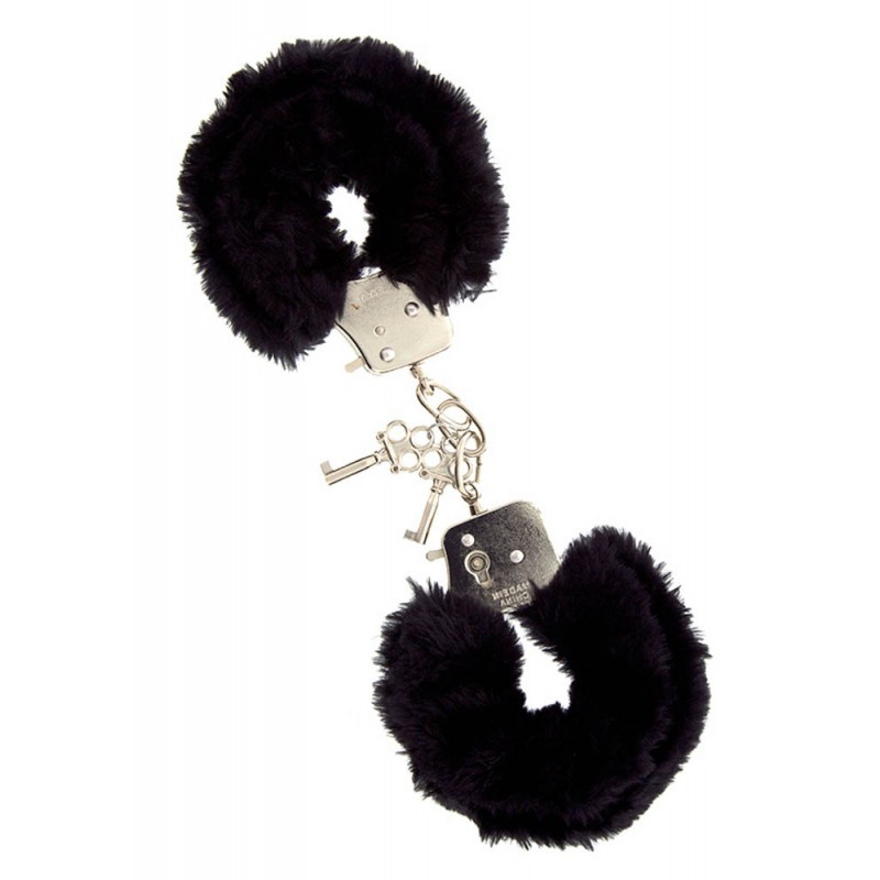 Метални белезници с плюш в черен цвят - Metal Handcuff with Plush Black — 4