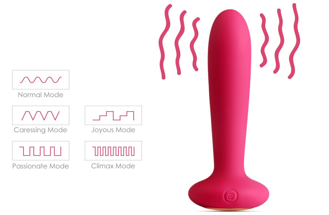 Унисекс анален плъг с дистанционно и затоплящ ефект - Primo Plum Red — 5