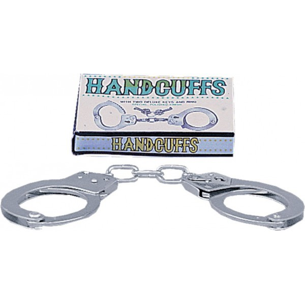Полицейски метални белезници с ключове - Large Metal Handcuffs with Keys — 2