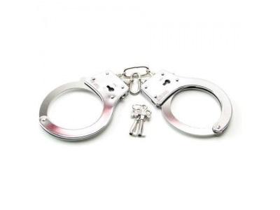 Полицейски метални белезници с ключове - Large Metal Handcuffs with Keys — 3