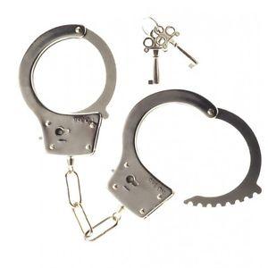 Полицейски метални белезници с ключове - Large Metal Handcuffs with Keys — 5
