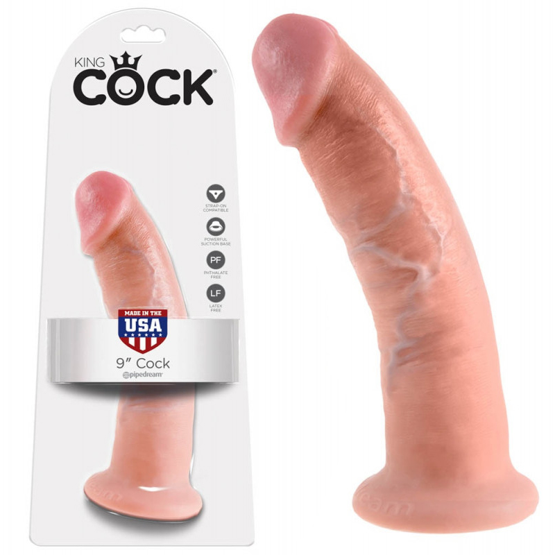 Топ дилдо с вакуумна основа, 22,9см. – King Cock, Flesh