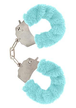 Метални белезници с плюш в син цвят - Metal Handcuff with Plush Blue — 3