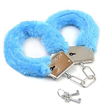 Метални белезници с плюш в син цвят - Metal Handcuff with Plush Blue — 4