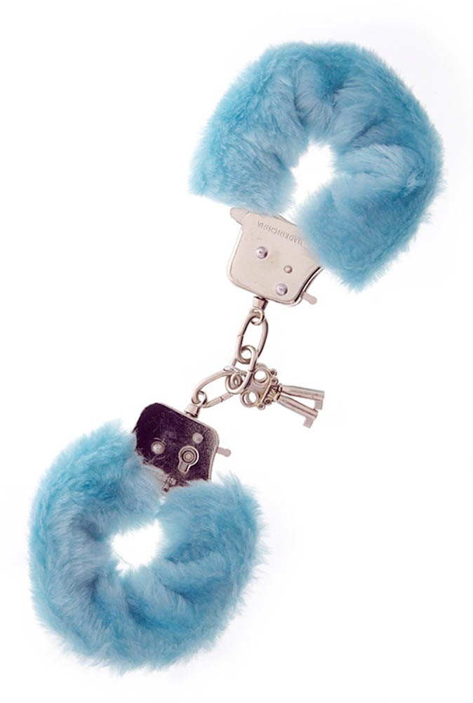 Метални белезници с плюш в син цвят - Metal Handcuff with Plush Blue — 5