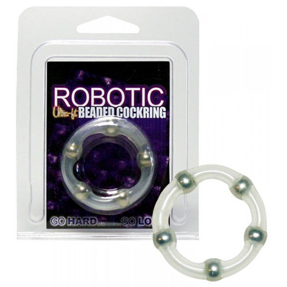 Пенис пръстен с вградени метални перли - Robotic Beaded Cock Ring
